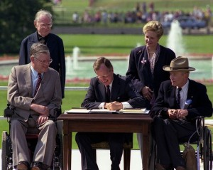 President Bush signing ADA into law